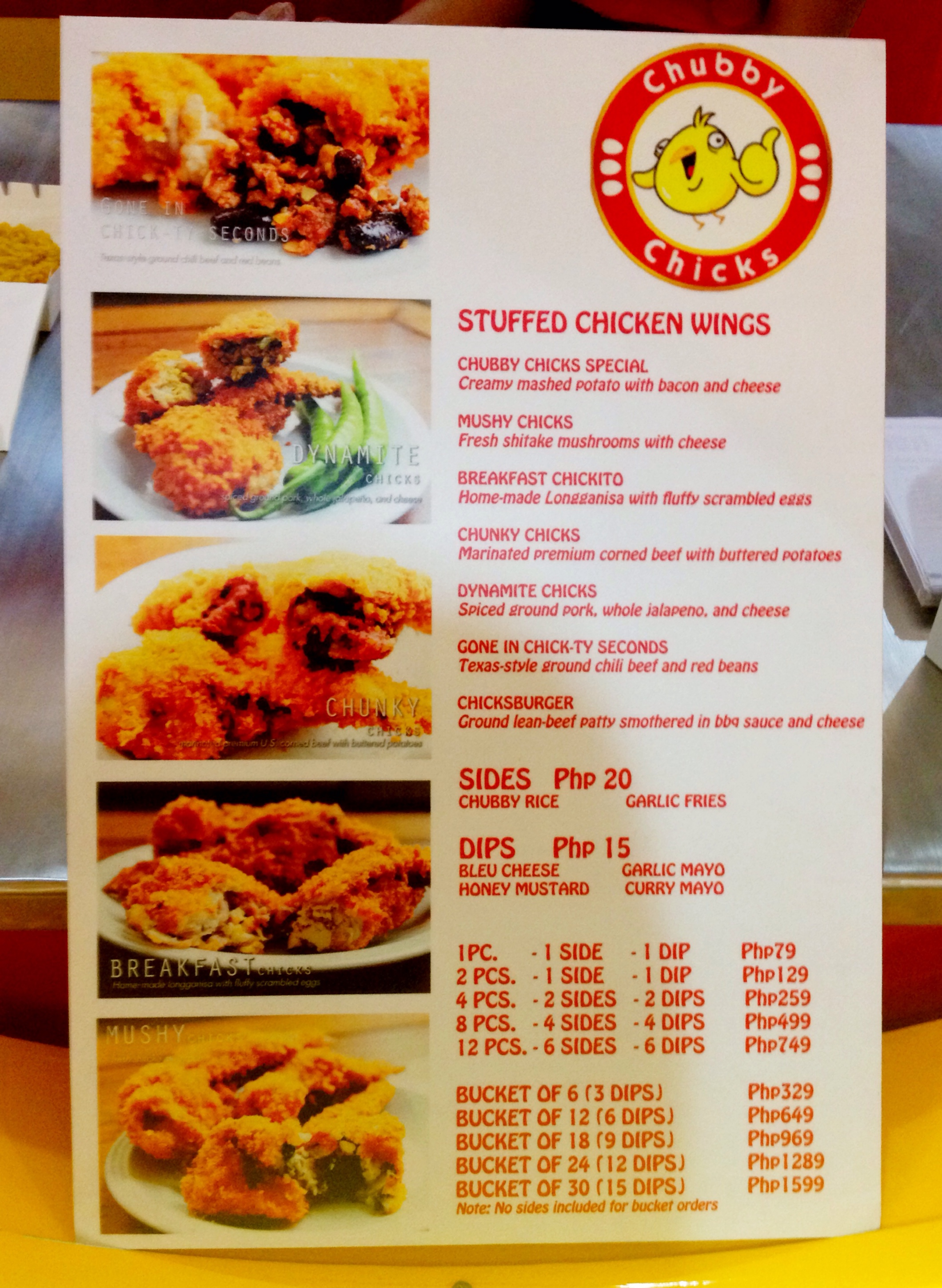 Chubby Chicks Menu